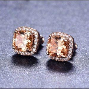 18k rose Gold topaz Earrings